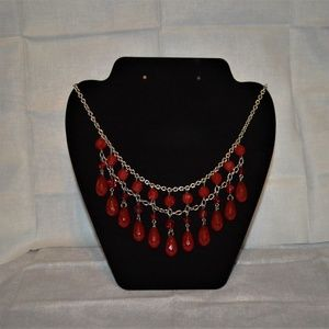 two layer red bead necklace